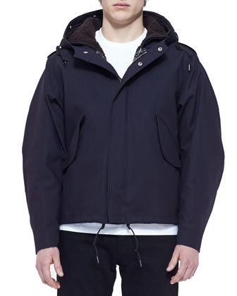 3-in-1 Jersey/Shearling Jacket, Black