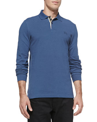 Long-Sleeve Pique Polo, Blue