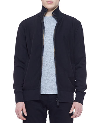 Jersey Full-Zip Sweatshirt with Check Lining