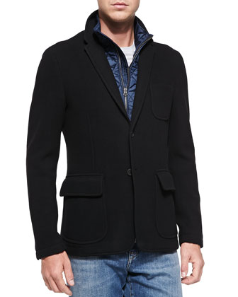 Wool-Blend Jacket with Detachable Warmer