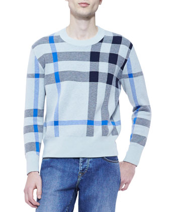 Knit Check Crewneck Sweater