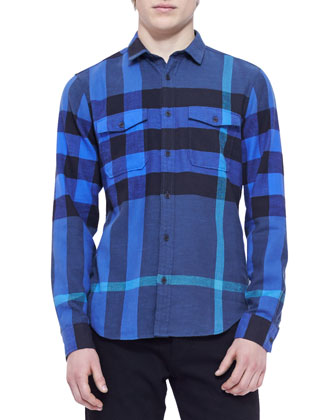 Check Lightweight Flannel Shirt, Blue/Black