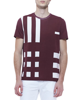 Graphic Check Crewneck T-Shirt, Maroon/White