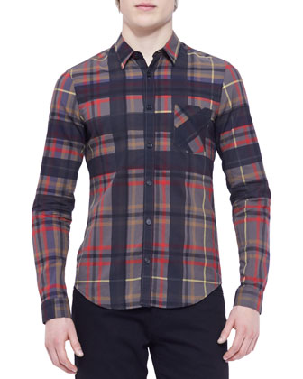 Long-Sleeve Check Shirt, Coral/Multicolor