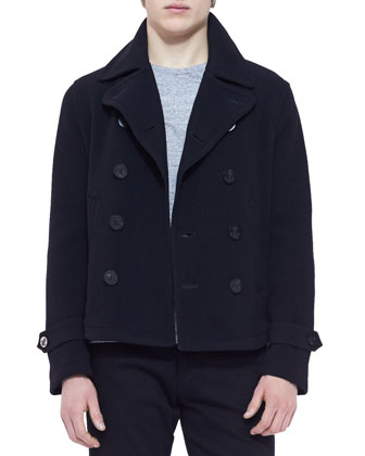 Unstructured Pea Coat, Black