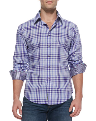 Luca Check Sport Shirt, Purple