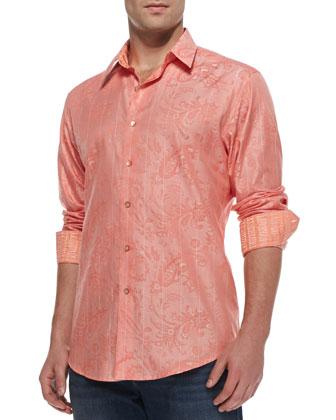 Santa Maria Jacquard Sport Shirt, Coral