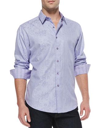 Santa Maria Jacquard Sport Shirt, Lavender