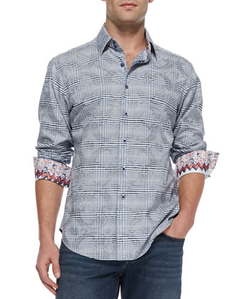 Angelo Check Jacquard Sport Shirt, Purple