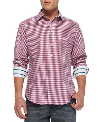 Centerbe Check Sport Shirt, Wine