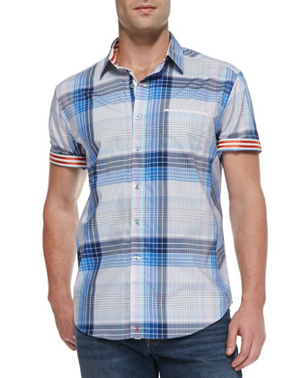 Frangelico Plaid Short-Sleeve Shirt, Blue