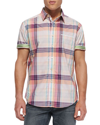 Frangelico Plaid Short-Sleeve Shirt, Red