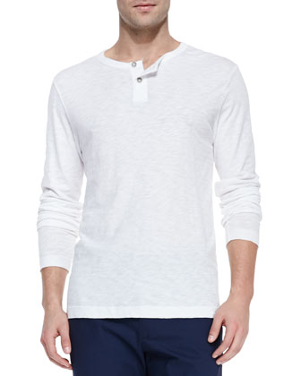Long-Sleeve Two-Button Henley Shirt, White