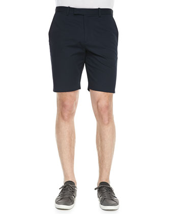 Striped-Linen V-Neck Polo & Navy Twill Shorts