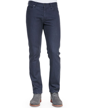 Five-Pocket Straight Leg Jeans, Dark Gray
