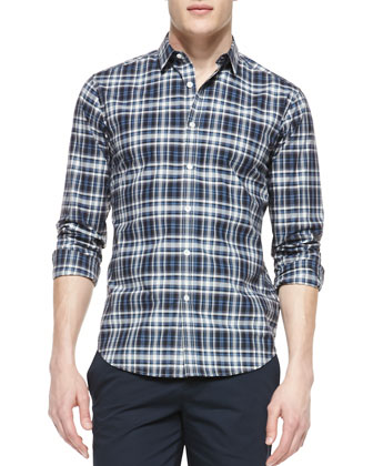 Windowpane-Check Poplin Shirt