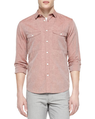 Linen-Blend Long-Sleeve Shirt