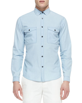 Double-Pocket Chambray Shirt