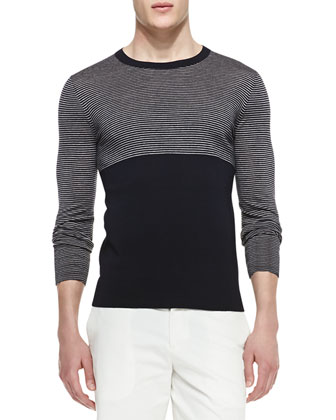 Merino Striped & Solid Crewneck Sweater
