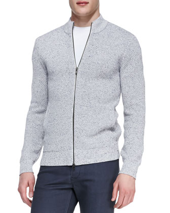 Zip-Front Textured Sweater, Cream/Ink