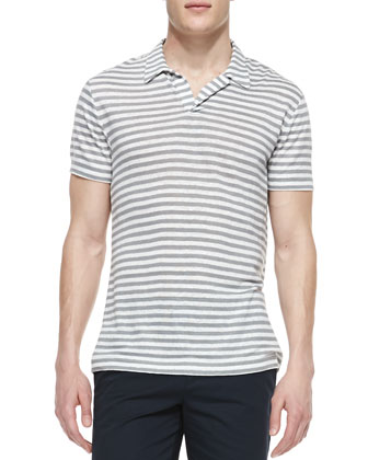 Striped-Linen V-Neck Polo