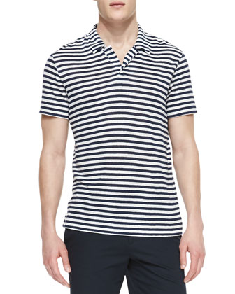 Striped-Linen Polo