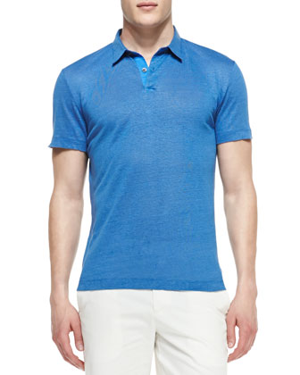 Linen Solid Two-Button Polo