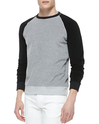 Raglan-Sleeve Sweatshirt, Gray/Black