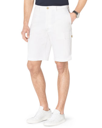 V-Neck Slub Tee & Contrast-Cuff Fleece Shorts