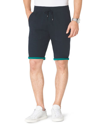 Contrast-Cuff Fleece Shorts