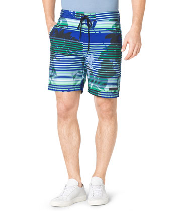 Tropical-Print Drawstring Swim Trunks