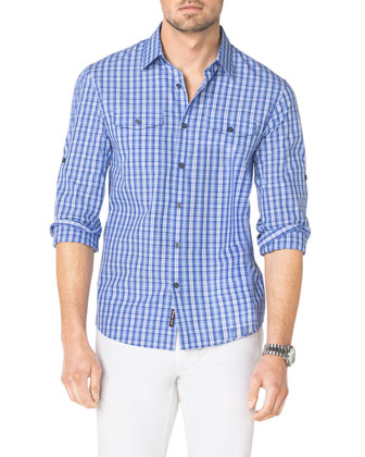 Multi-Check Two-Pocket Shirt & Stretch Calvary Jeans