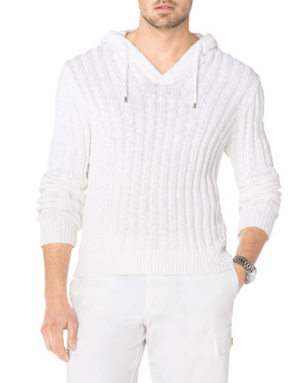 Ribbed Knit Hooded Pullover