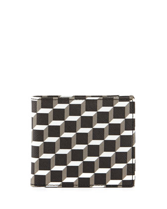 Blue Cube Print Wallet, Black/White