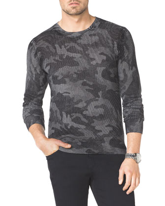 Camo-Print Knit Sweater & Modern-Fit Jeans
