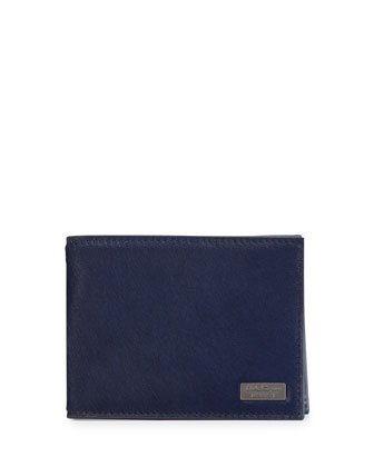 Luxor Pony Bifold Calf Hair Wallet, Royal Blue