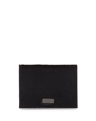 Luxor Calf Hair Business Card Holder, Black