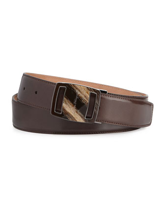 Vara Sardegna Oversized Leather Belt, Dark Brown