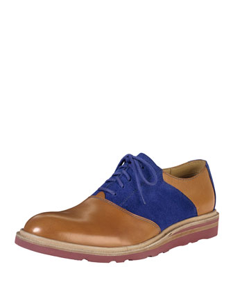 Christy Wedge Saddle Oxford, Brown/Blue