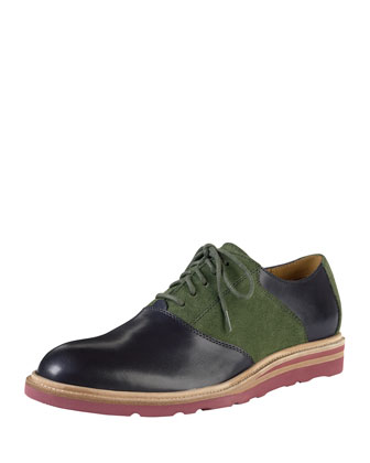 Christy Wedge Saddle Oxford, Blue/Olive