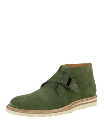 Christy Wedge Monk-Strap Chukka, Olive