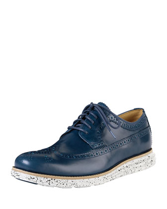 Lunargrand Long Wing-Tip Oxford with Speckled Contrast, Navy