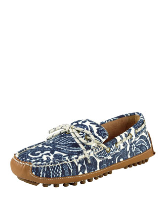 Men's Grant Printed Canvas Moccasin, Blue
