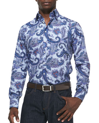 Textured Paisley Sport Shirt, Light Blue