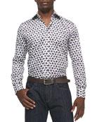Pine & Medallion-Print Sport Shirt, Ivory/Purple