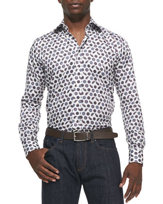 Pine & Medallion-Print Sport Shirt, Ivory/Purple