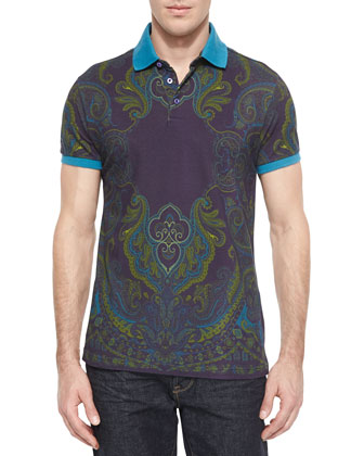 Place Paisley-Print Polo, Purple Multi