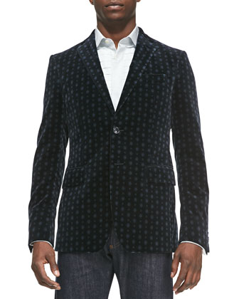Medallion-Print Velvet Jacket, Black