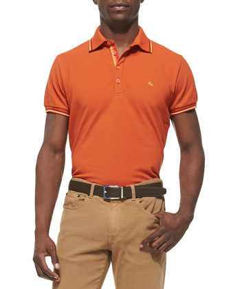 Tipped Short-Sleeve Polo, Orange