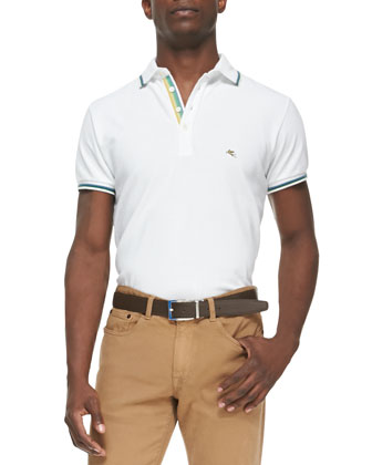 Tipped Short-Sleeve Polo & 5-Pocket Twill Pants